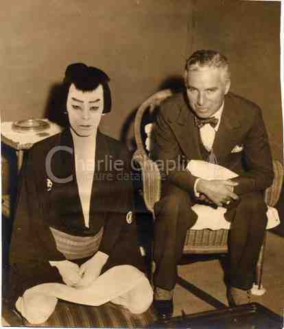 Chaplin and a kabuki actor big