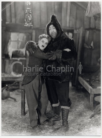 Chaplin and Mack Swain in a publicity still for The Gold Rush