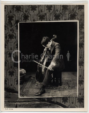 Portrait of Chaplin with cello