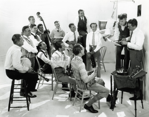 Chaplin rehearsing with the Abe Lyman Orchestra