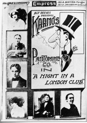 "Promotional poster for Karno sketch, ""A Night in a London Club"": Amy Minister (top), Alf Reeves, Charlie Chaplin, Muriel (Mickey) Palmer, Charlie Chaplin, Mike Asher"
