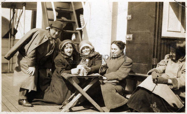 Alf and Amy Reeves, Muriel Palmer & Chaplin on the boat to America for the 1910 Karno tour