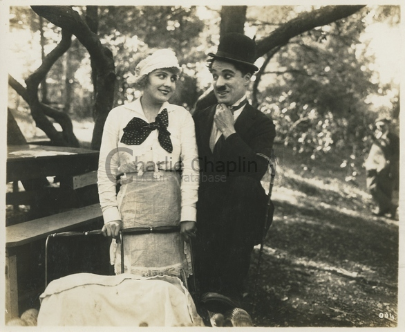 Edna Purviance & Chaplin in In the Park, 1915