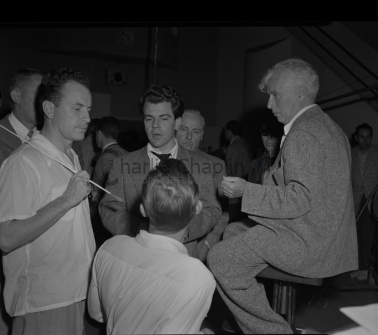 Left to right: Keith Williams (conductor on Limelight), Ray Rasch (arranger) and Chaplin