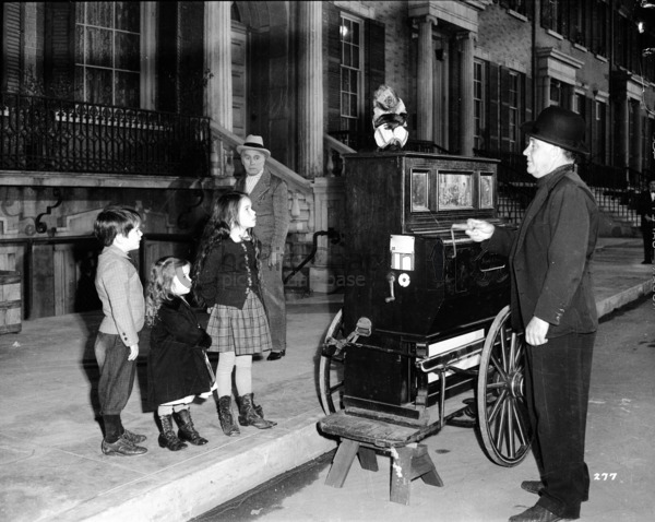 A recreation of a Victorian London street. Three of Chaplin's children, Michael, Josephine and Geraldine appear in the opening scene of Limelight.