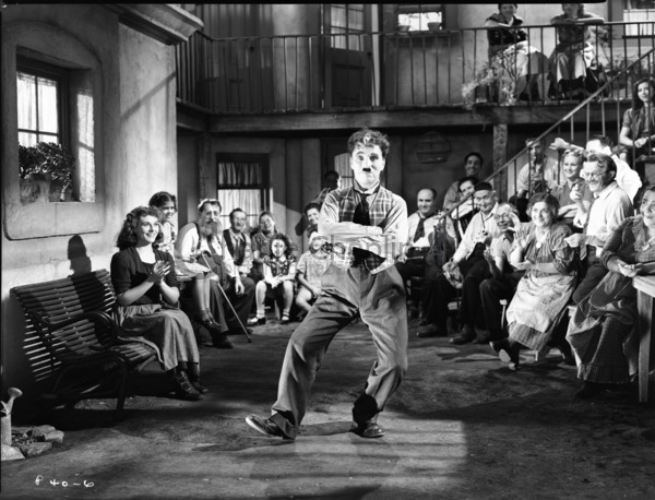 Chaplin dancing on the set of The Great Dictator
