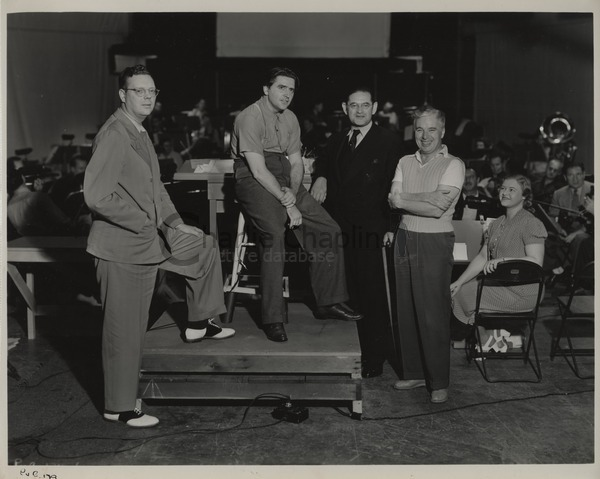 Chaplin's musical team during the recording of The Great Dictator, 1940