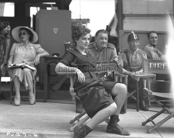 Goddard and Chaplin on the set of The Great Dictator