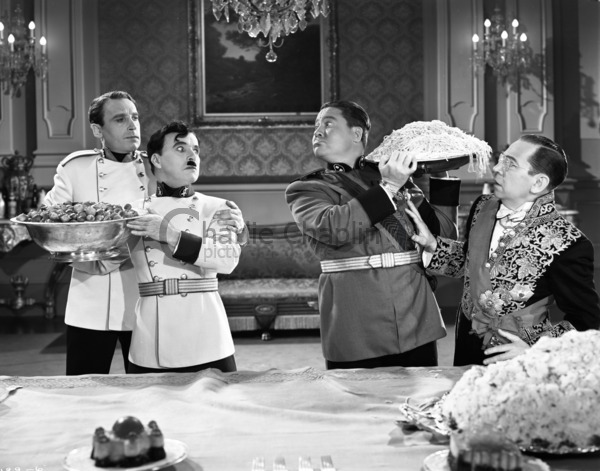 The famous food fight scene with Chaplin and Jack Oakie