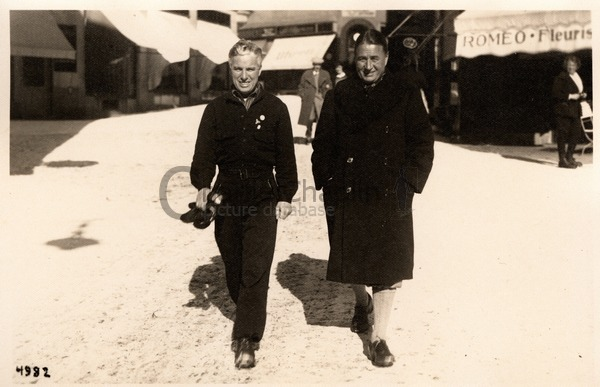 Charlie Chaplin and his brother Sydney in St. Moritz