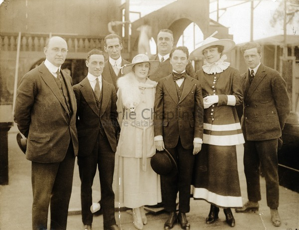 Mutual company members on the set of The Floorwalker, 1916: Henry P. Caulfield (manager of Lone Star Studios), Leo White, Vincent Bryan, Edna Purviance, Eric Campbell, Charles Chaplin, Charlotte Mineau, Lloyd Bacon