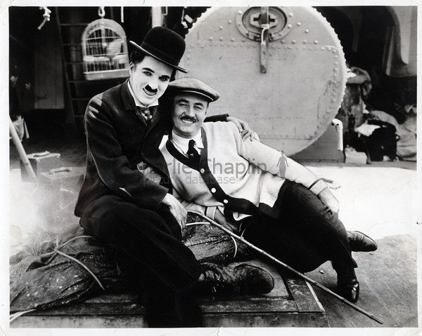 Charlie and Sydney Chaplin on the set of The Immigrant (1917)