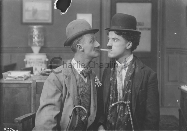 Ben Turpin and Charles Chaplin in costume, 1915
