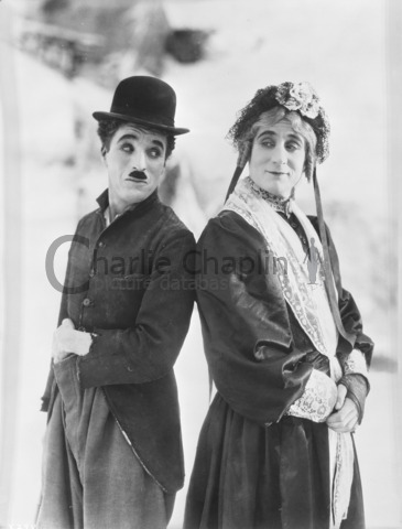 "Charlie Chaplin and Sydney Chaplin, dressed as the main character of ""Charley's Aunt"""