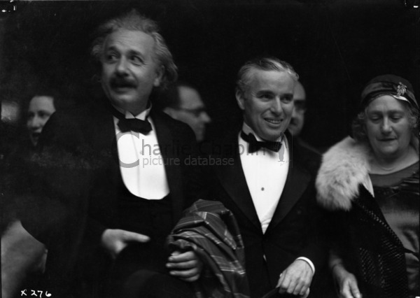 Chaplin with his guests, Mr. and Mrs. Einstein, at the premiere of City Lights in Los Angeles