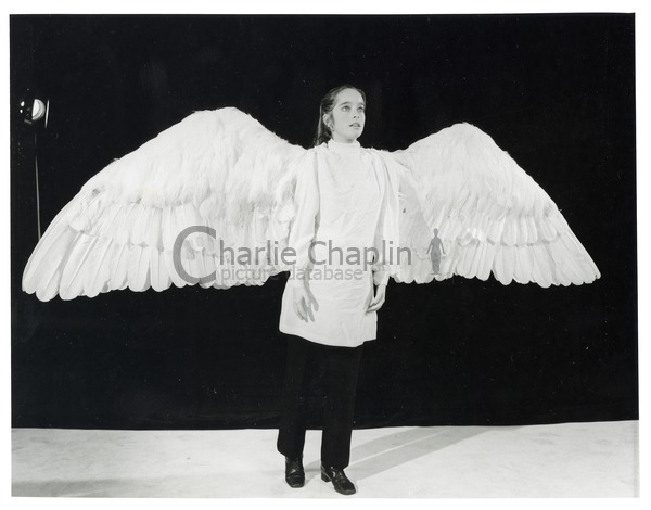 Victoria Chaplin wearing the wings that were made for The Freak