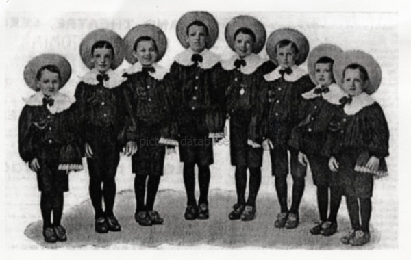 The Eight Lancashire Lads before Charlie joined the troupe. The stage costume resembles the one Chaplin wore, according to his descriptions