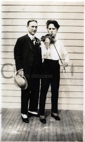 With Alf Reeves, manager of the Chaplin Studios, circa 1918