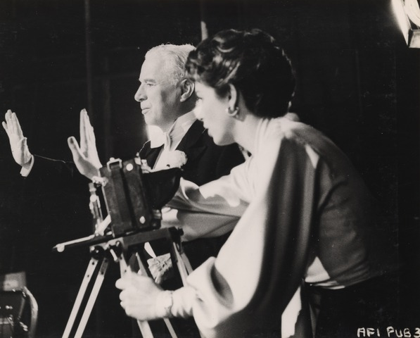 Charles Chaplin and Dawn Addams on the set of A King in New York