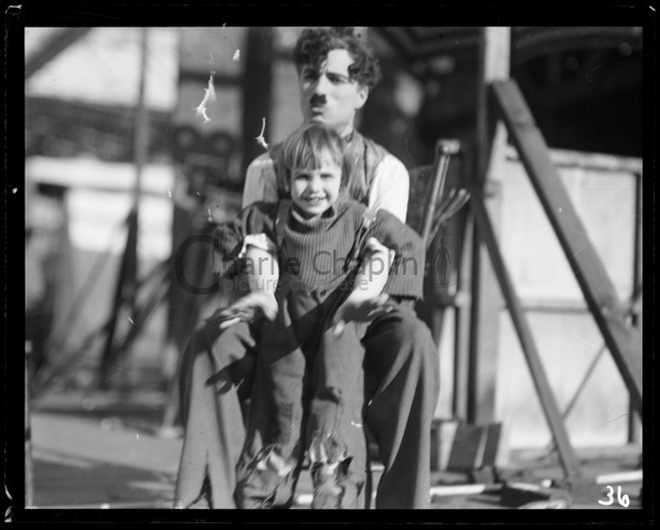 Chaplin and Jackie Coogan on the set of The Kid