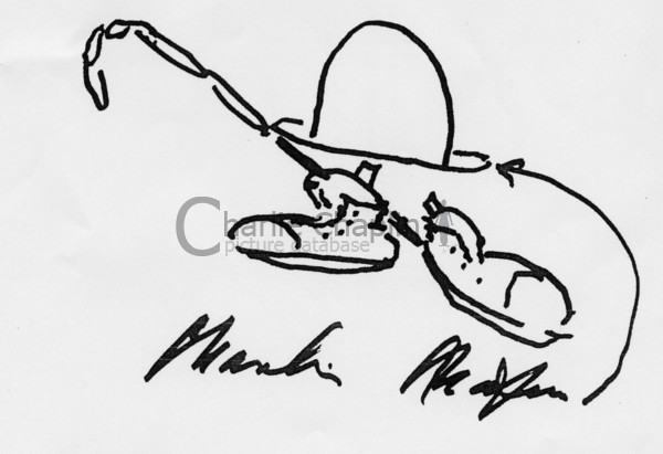 Hat  cane   shoes with signature. drawing by charlie chaplin big