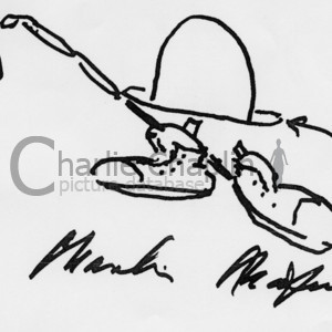 Hat  cane   shoes with signature. drawing by charlie chaplin midsquare