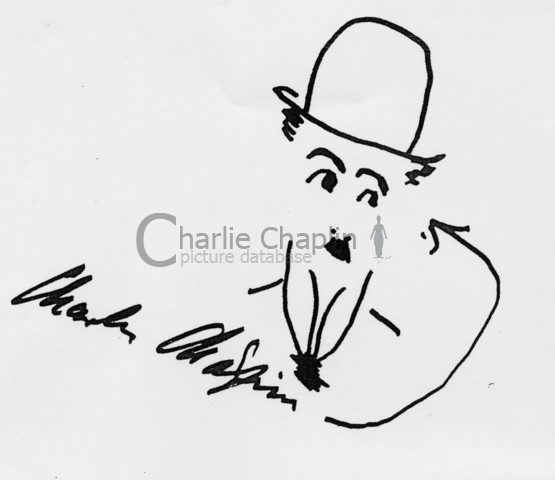 Tramp with signature. drawing by charlie chaplin big