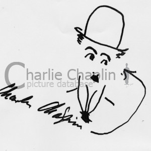 Tramp with signature. drawing by charlie chaplin midsquare