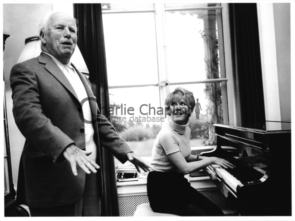 Chaplin and Petula Clark at the Manoir de Ban