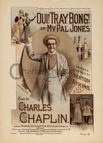 Sheet music cover for Oui! Tray Bong! or My Pal Jones as sung by Charles Chaplin Sr., 1893