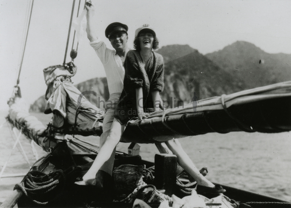Chaplin and Peggy Hopkins Joyce, Catalina Island, 1922