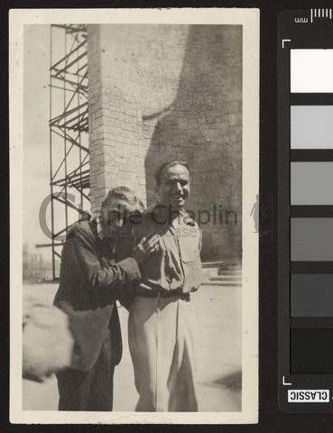1922c doug and chaplin off camera on robin hood set big